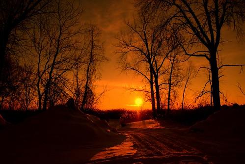 snow sunrise wi
