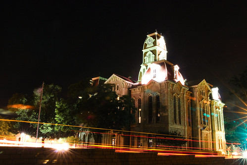 county longexposure light red orange usa stars texas clocktower courthouse streaks 2am parker taillights weatherford