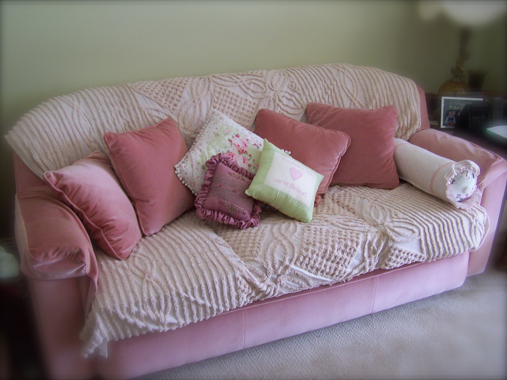 Pretty Shabby Chic Sofa And Cushions A Sofa Covered With