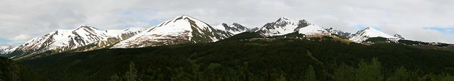 Stitched panoramic shot of the views on the Seward Highway near Turnagain Pass