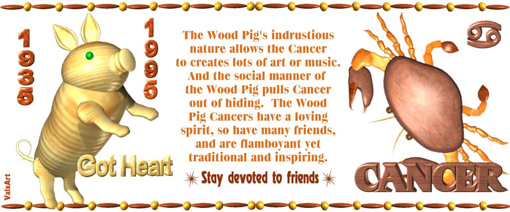 982d42ef6 ... ValxArt's 1935 1995 Wood Pig Cancer w. astrology horoscope for people  born in Chinese zodiac
