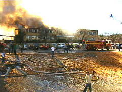 Fire destroyed the main building of Bauxite High School on January 5, 2001.    (I am not the photographer, and I do not know who was.  This was sent to me.)