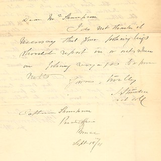 Customs reply to Capt Thompson's letter 1901 | by Elgin OGS