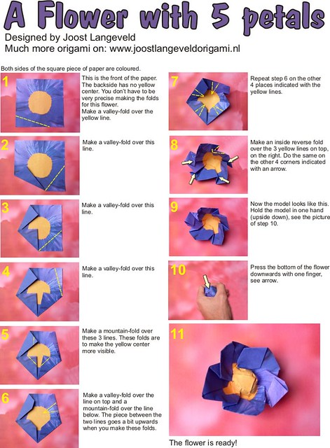 Origami Flower Diagrams | Diagrams for folding an origami fl ... on