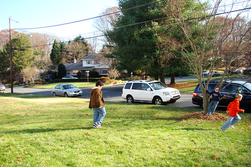 Kids playing outside on Thanksgiving