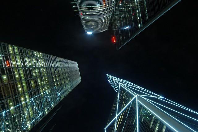 Hong Kong - Night between the Skyscrapers