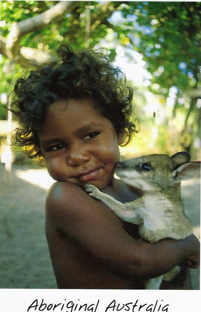 Aboriginal Child with Baby Kangaroo Postcard