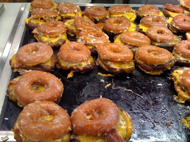 Krispy Kreme bacon cheddar cheeseburgers