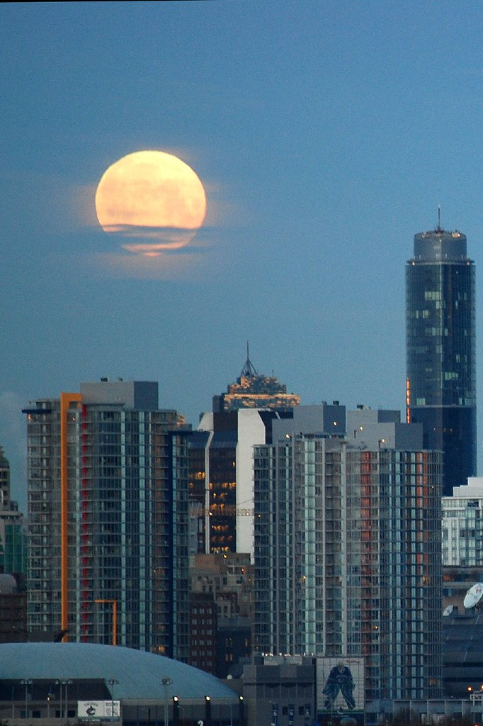 Moon setting over home of the Canucks