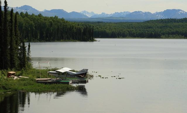 Typical Alaska scenery - float plane on Fish Lake