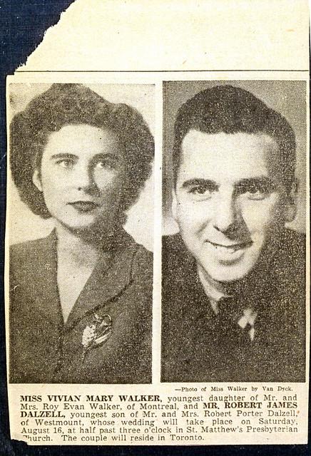 Robert and Vivian Dalzell wedding announcement 1941