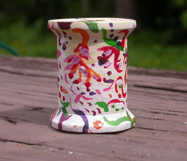 Painted Wooden Spool Jennifer Burrell Flickr
