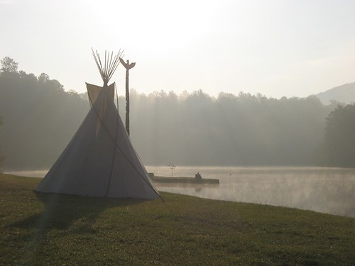 camp lake fog sunrise island order over totem pole indians arrow teepee knob raven oa garymeyer