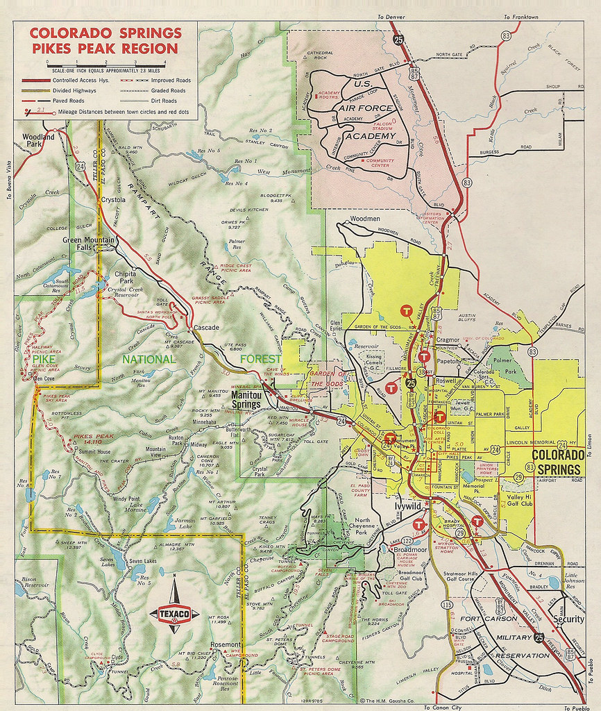 Inset map of Colorado Springs area, 1970 | Scanned from 1970 ...