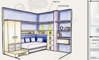 Contoh Sketsa Interior Kamar Anak, Proses Desain Interior ...