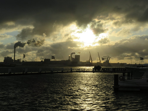 Sunset looking out at the industrial area by Amsterdam Marina