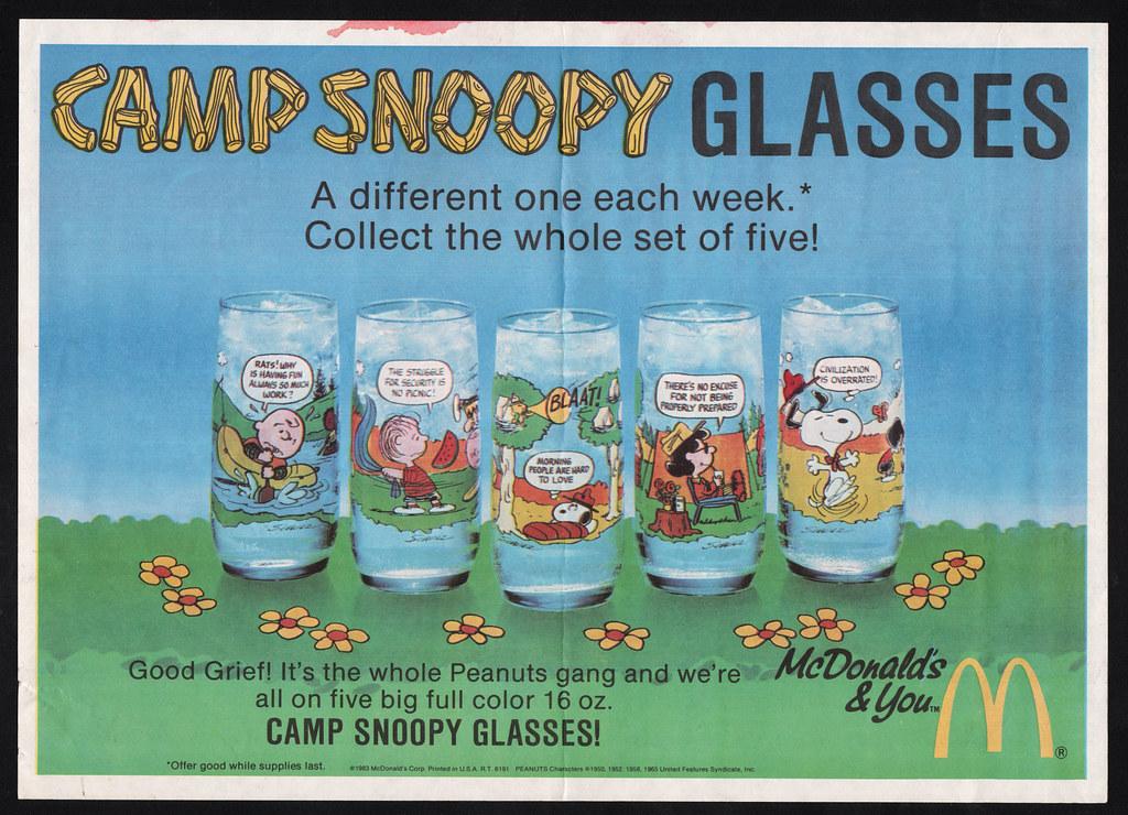 37ba779841 ... McDonalds Placemat - Camp Snoopy Glasses - 1983