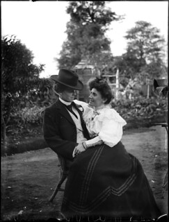 Young couple seated in garden | by Powerhouse Museum Collection