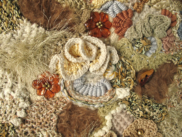 free form knitting  freeform knit & crochet fabric closeup | close-up of another ...