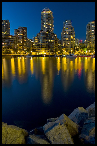 blue canada water night vancouver marina buildings reflections boats bc britishcolumbia highrise falsecreek bluehour granvilleisland cobalt zd olympuse500 1445mm
