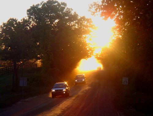 road sunset sun cars rural michigan country suburbs dirtroad oaklandtownship