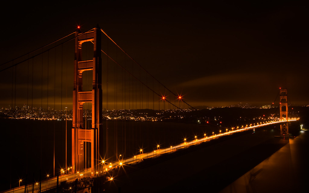 Golden Gate Bridge And San Francisco At Night Desktop Ba Flickr
