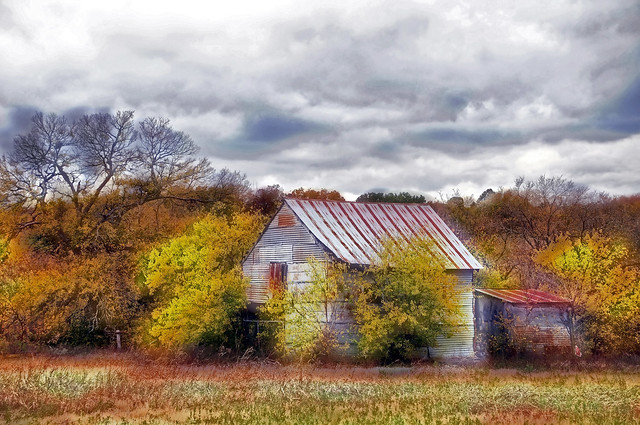 DSC_8421 Autumn Landscape Commercial Photography Sky Clouds Waxahachie Texas Rural Countryside Abandoned Home Grass Fall Color Dreamlike Haze