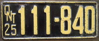 ONTARIO 1925 license plate