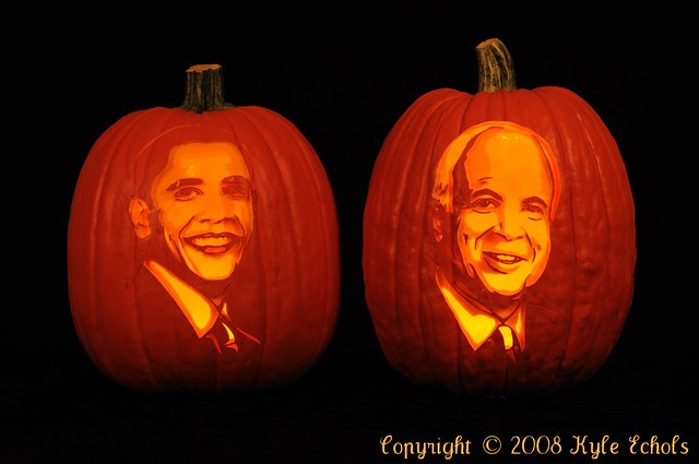 Obama and McCain Pumpkin Portraits by the Pumpkin Lady