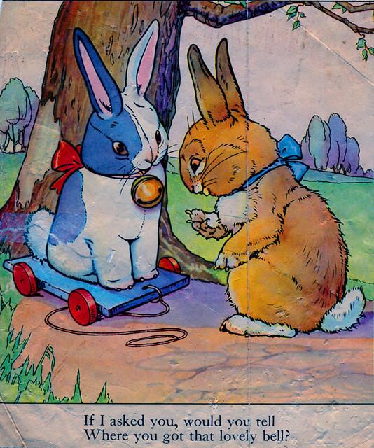 cute vintage bunny book page