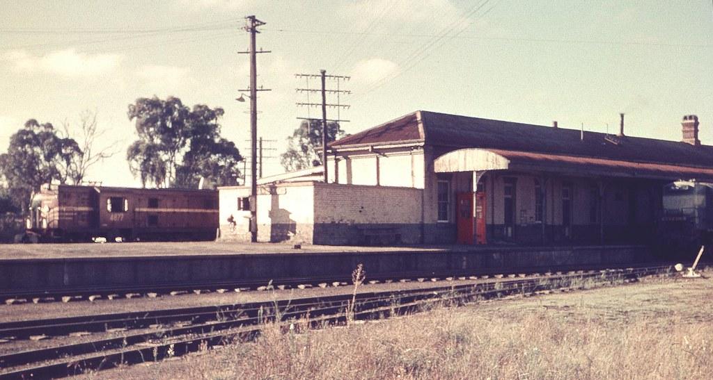Wallangarra with locomotives by Leonard J Matthews
