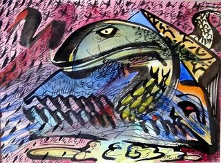 Awakening Tuna( the eel ). Water colour 2006