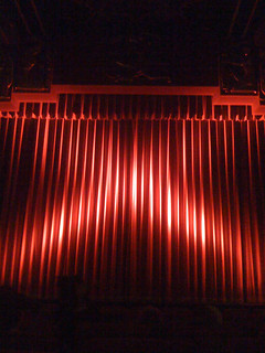 Closed red curtain at the Coolidge Corner Theatre - portrait | by brokentrinkets