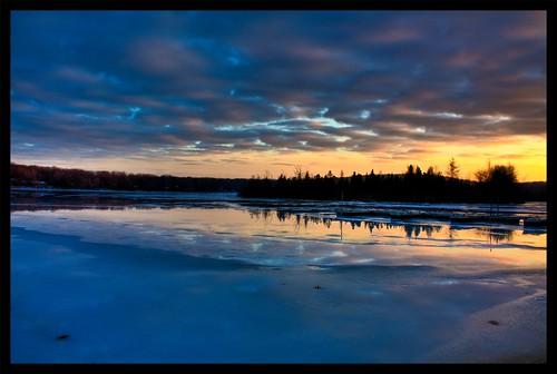 sunset sky usa lake ice clouds landscape unitedstates pennsylvania northamerica northeast pikecounty hdr scoreme44 3px goldkeylake northeasternunitedstates dingmantownship goldkeylakeestates