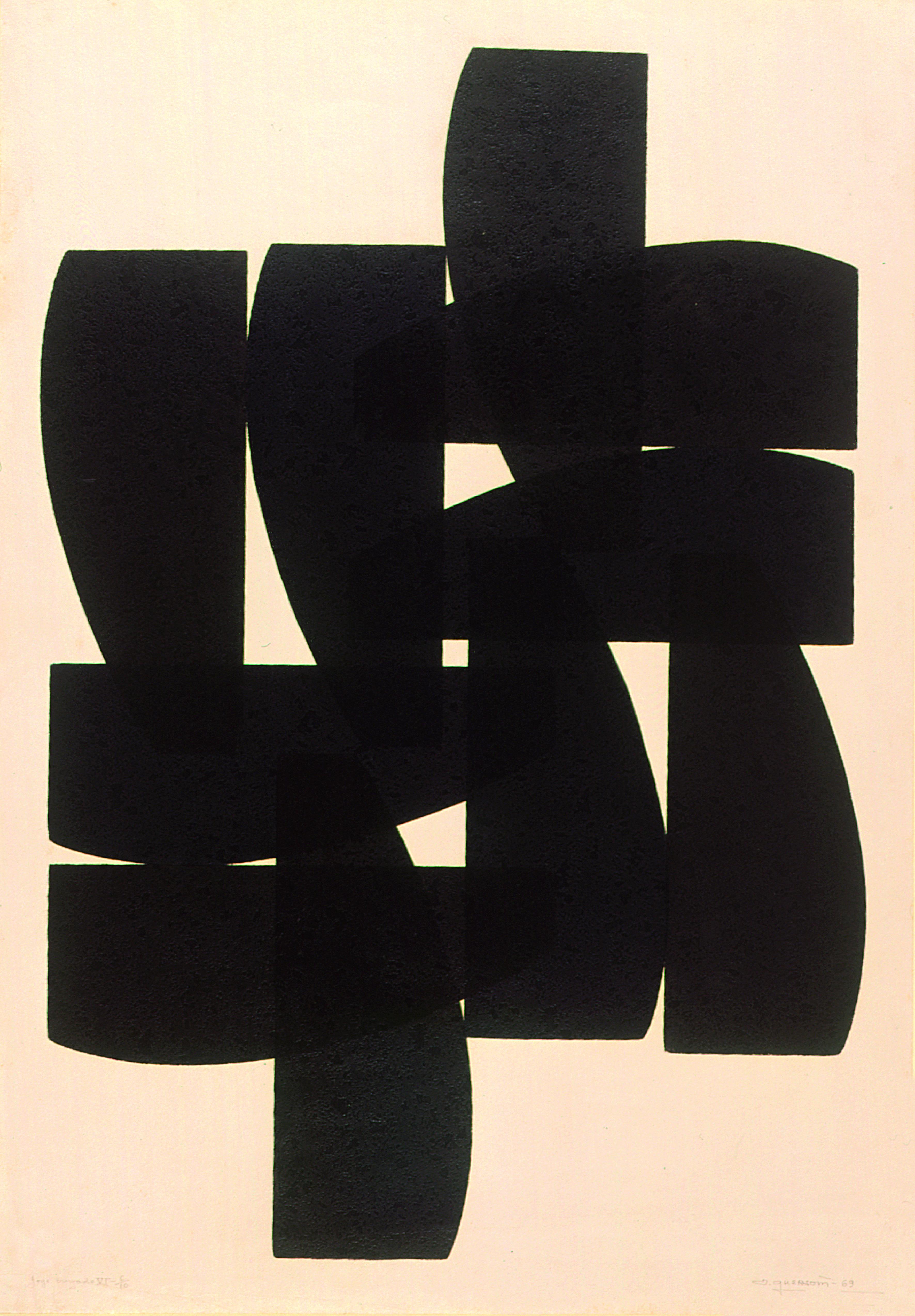 Jogo Cruzado VI   Autor: Odetto Guersoni Ano: 1969 Técnica: Linoleogravura Dimensão: 90cm x 64cm