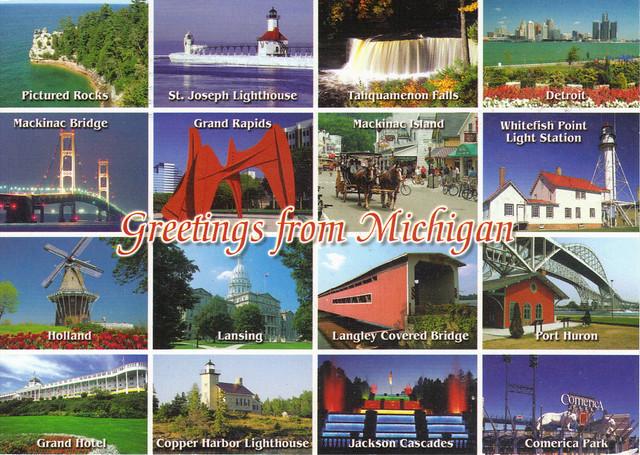 Greetings From Michigan Multi-view Postcard