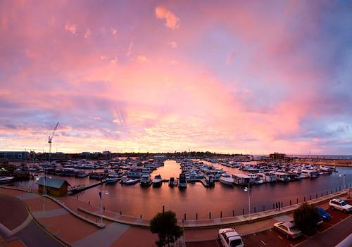 pink blue sunset sky marina boats nikon sigma westernaustralia waterside mandurah 1850 d300 project365 explored dolphinquays