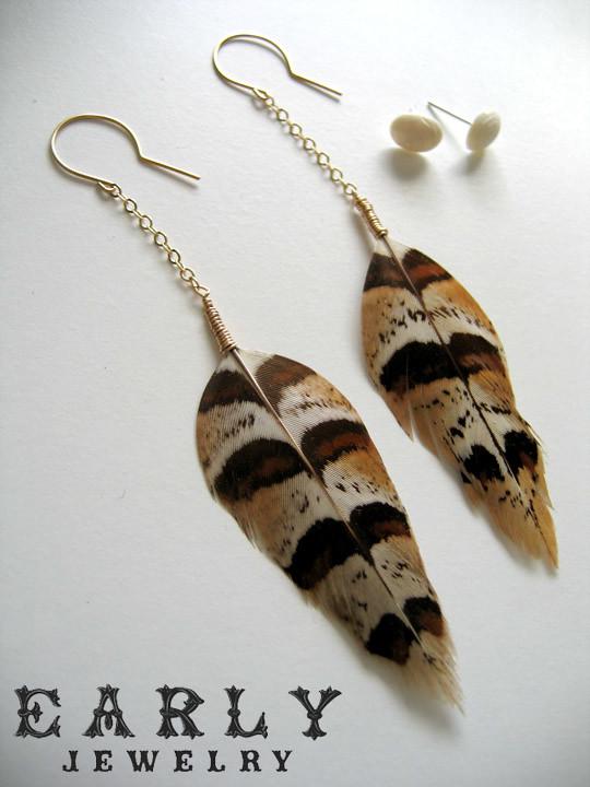 Gold Filled Feather Earrings Oval Carved Bone Stud Earri Flickr