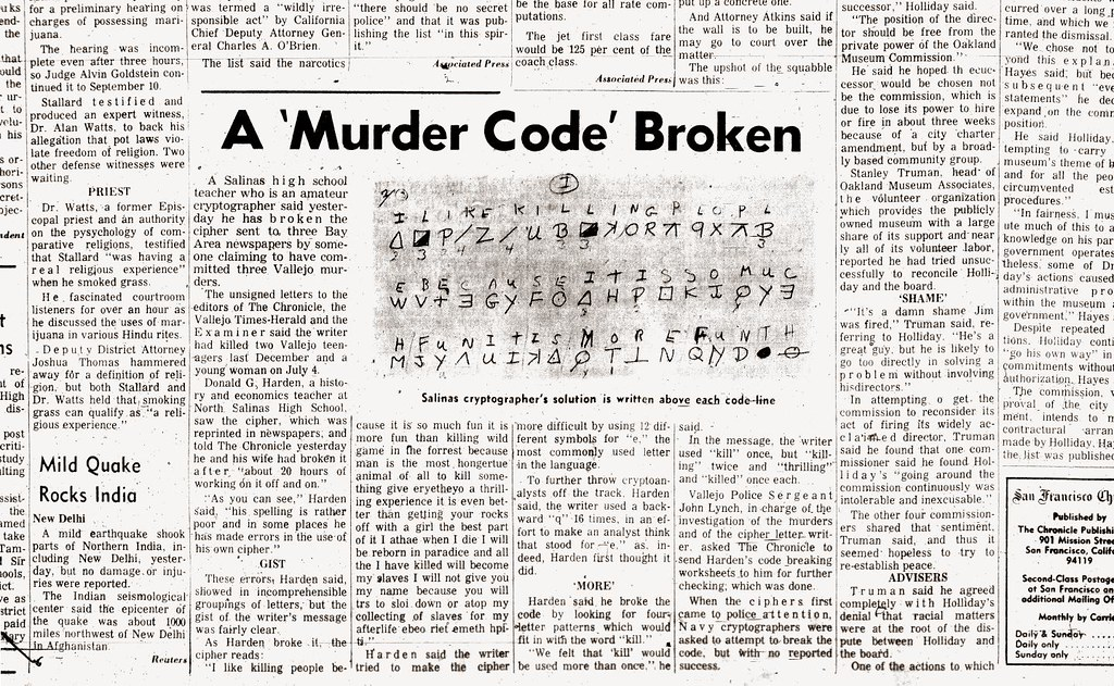 The Zodiac Killer's Code is Cracked (August 9, 1969) | Flickr