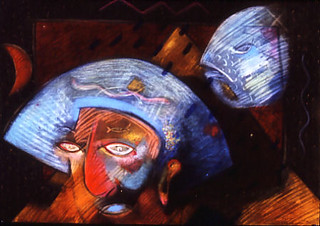 Dreams are coloured by the heads one wears 360 pdi oil paint and pastel 1986