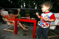 nick and sequoia talking shop out on the back deck, over a dinner of salmon burgers and french fries - _MG_0387 | by sean dreilinger