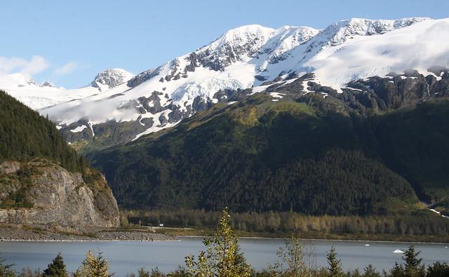 Mountains with fresh snow behind Portage Lake