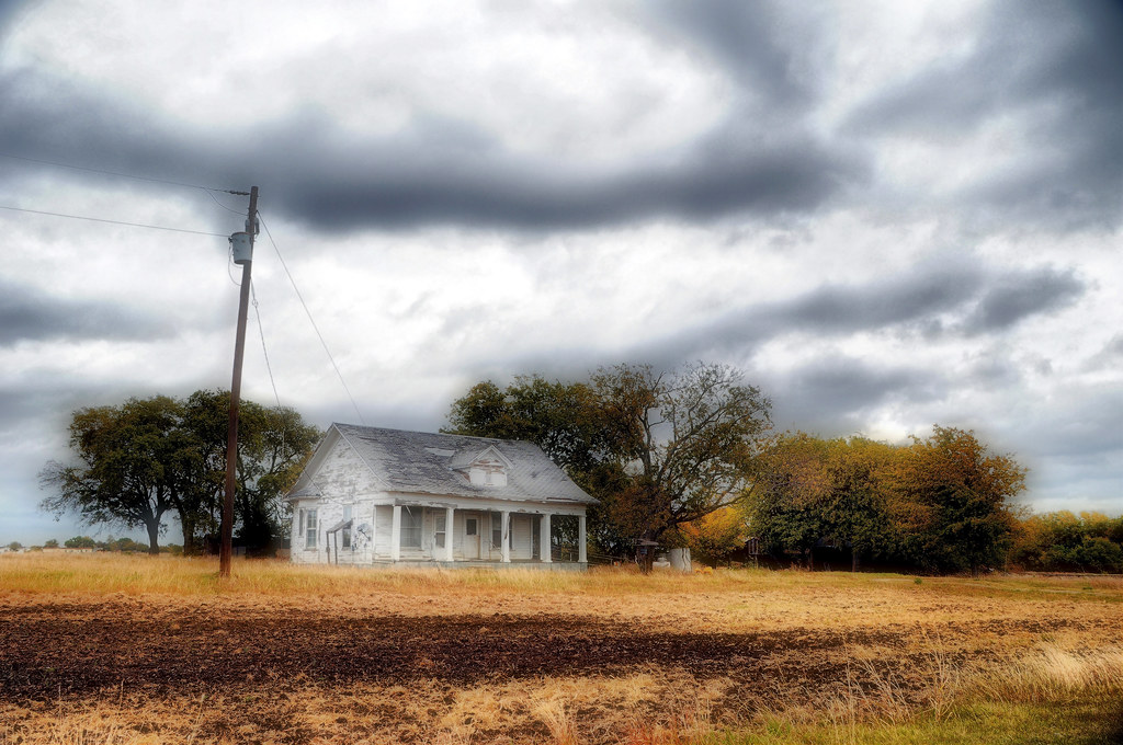 Venus Texas Abandoned House Home Wooden Field Sky Clouds T