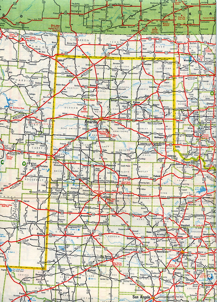 Map Of Texas Panhandle Texas panhandle and south plains   1955 Mobilgas Southwest… | Flickr