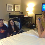 The girls in their hotel room