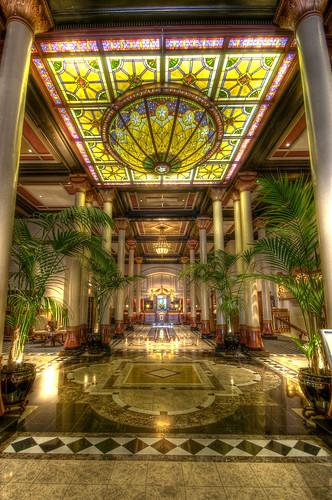 dome photomatix flickrdiamond stainedglass6th6thstreetaustinhdrdowntowndriskillhotelhotellobbytexastx
