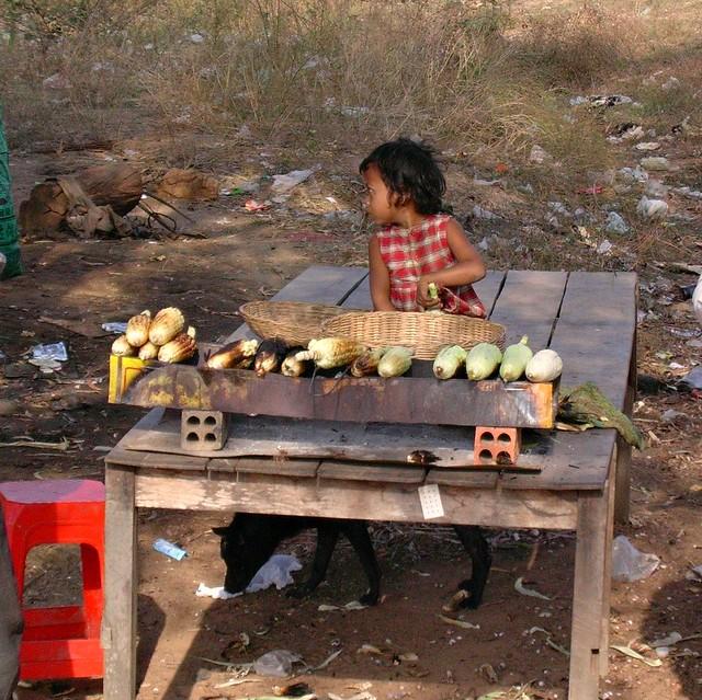 Kambodscha, Die Kleine röstet Maiskolben - 4
