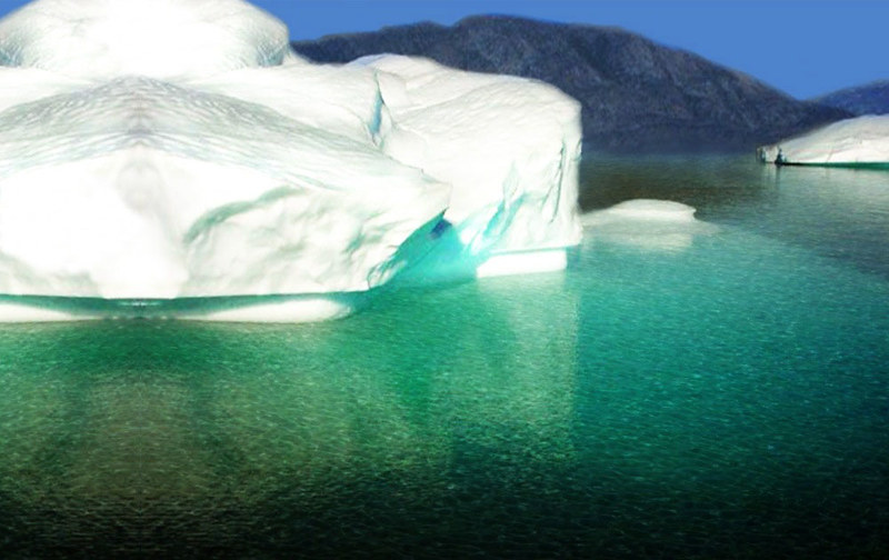 Icebergs, large and beautiful floting mass of ice