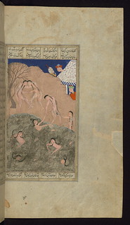 Illuminated Manuscript, Five poems (quintet), Alexander the Great and his men watch naked girls swim in the Sea of China, Walters Art Museum Ms. W.606, fol. 354b | by Walters Art Museum Illuminated Manuscripts