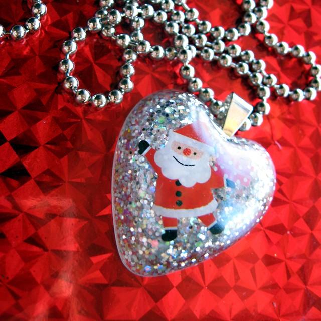 I Heart Santa Claus Silver Glitter Heart Shaped Resin Neck Flickr